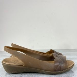 Crocs Tan Jelly Peep Toe Flats